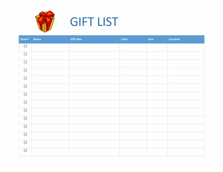 Gift Shopping List - Office Templates pertaining to Office Shopping List Template 22114