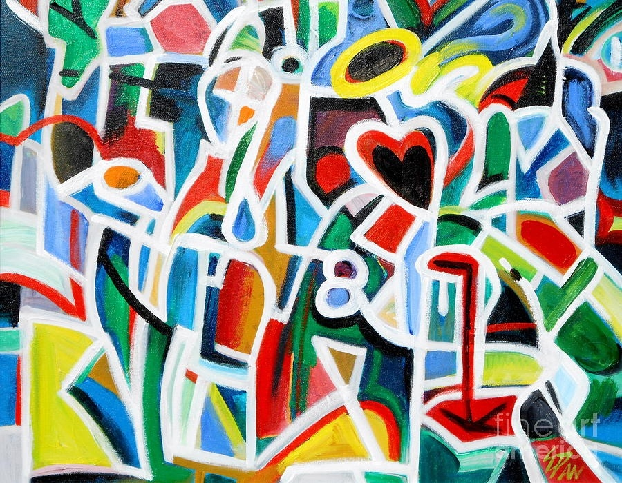 Heart Shape Abstract 2 Painting By E Dan Barker in Shape In Artwork 23806