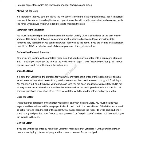 How To Write A Good Friendly Letter Sample Friendly Letter Tips