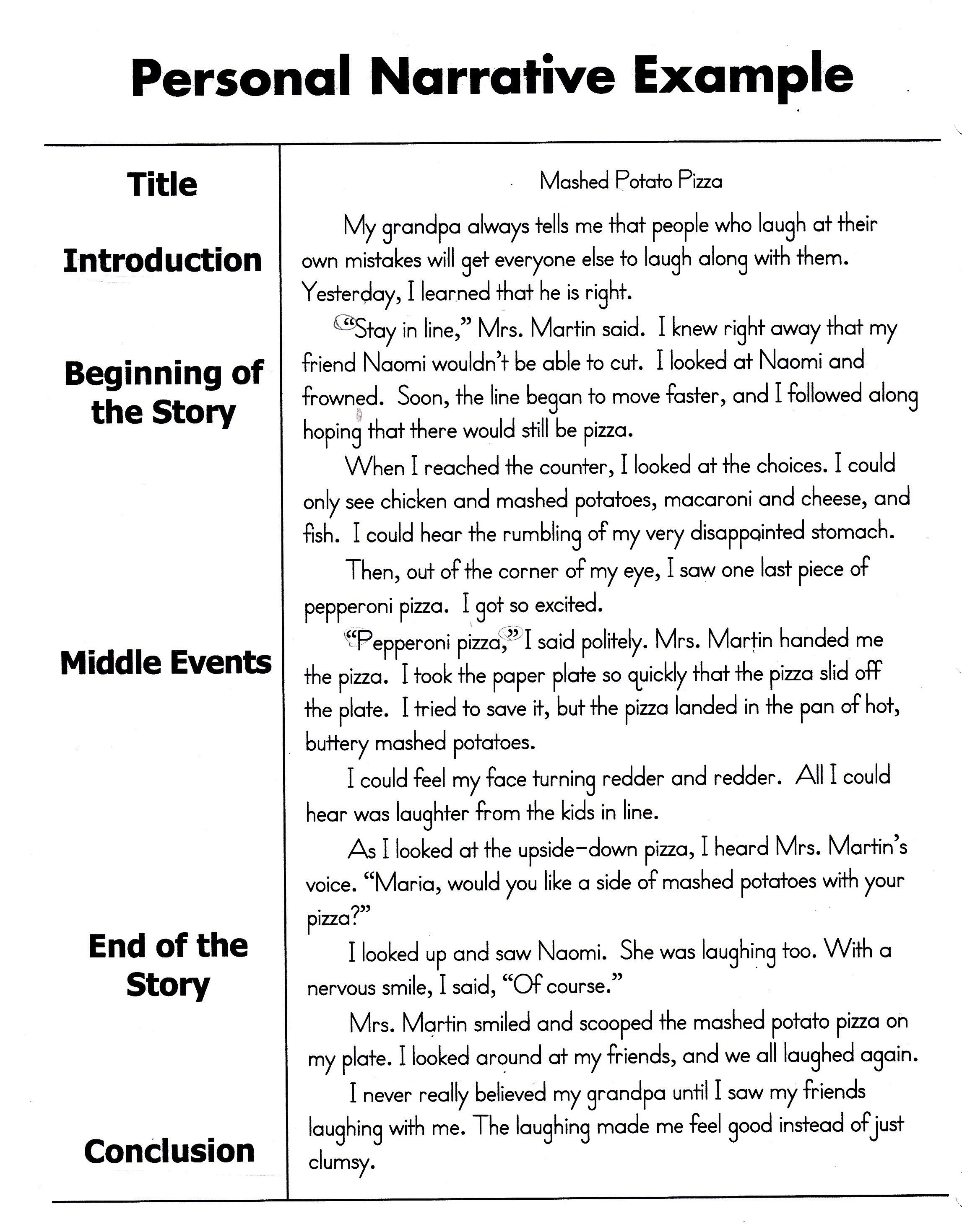 How To Write A Personal Narrative Essay For 4Th 5Th Grade Oc inside Personal Narrative Examples 5Th Grade 21351