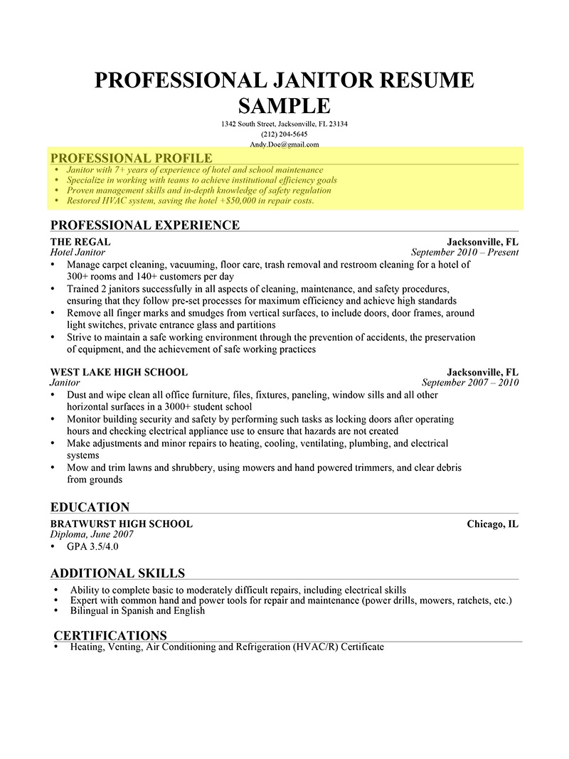 How To Write A Professional Profile | Resume Genius for Sample Profile Image 19896