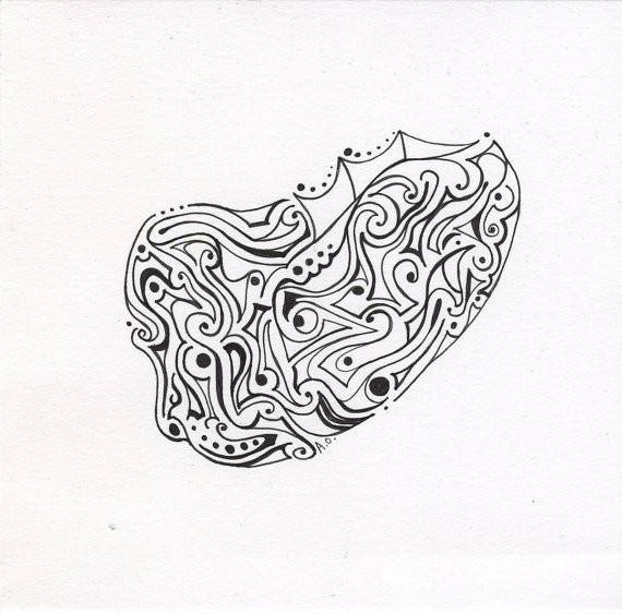 Items Similar To Pen And Ink Original Drawing, Organic Shapes with Organic Shape Drawing 23897