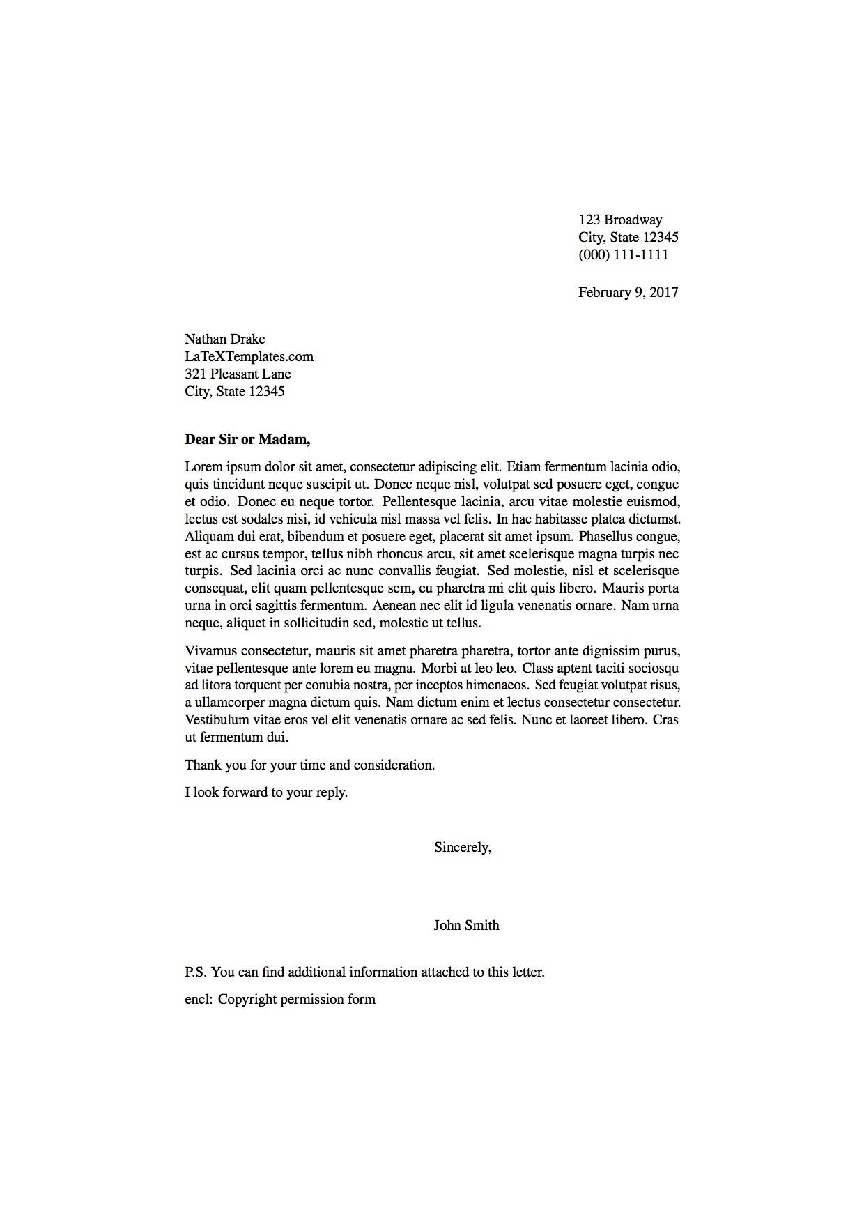 Latex Templates » Formal Letters within Formal Letter Format To Congressman 20077