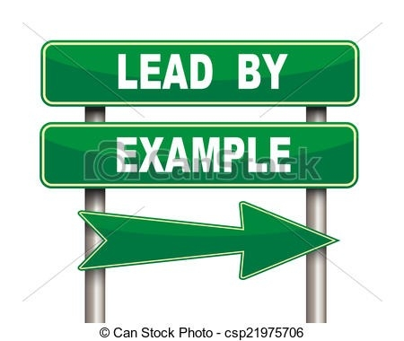 Lead By Example Green Road Sign. Illustration Of Green Arrow intended for Lead By Example Clipart 19694