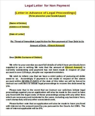 Legal Letter Format For Non Payment | World Of Example intended for Legal Letter Format For Non Payment 23146