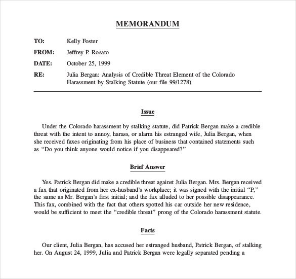 Legal Memo Format  Examples And Forms