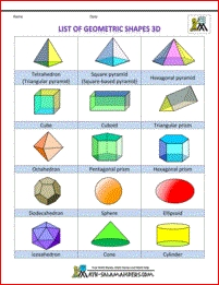 List Of Geometric Shapes - Names, Number Of Sides 3D Col | Shapes intended for 3D Geometric Shapes Names 19463