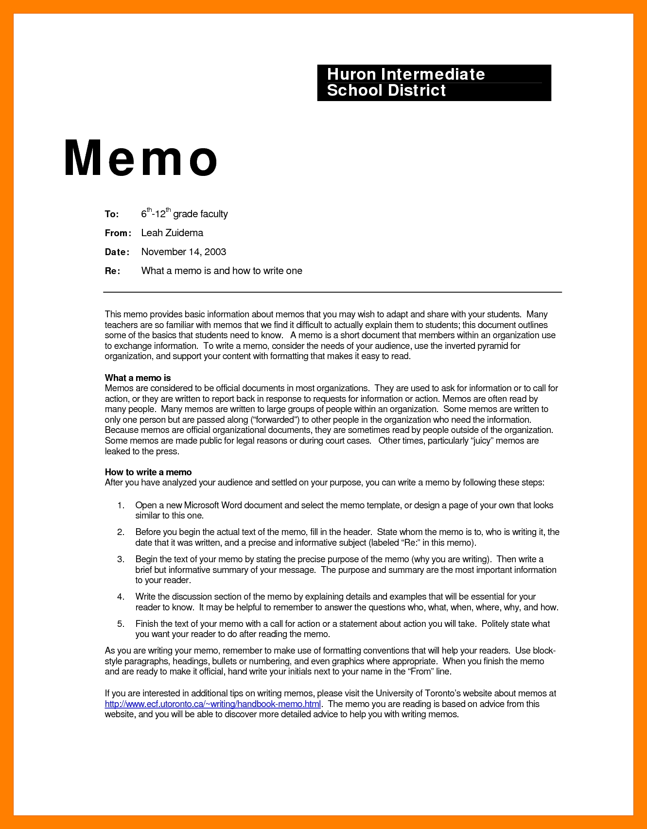 Memorandum Example - Asafon.ggec.co in Business Memo Format Closing 22916