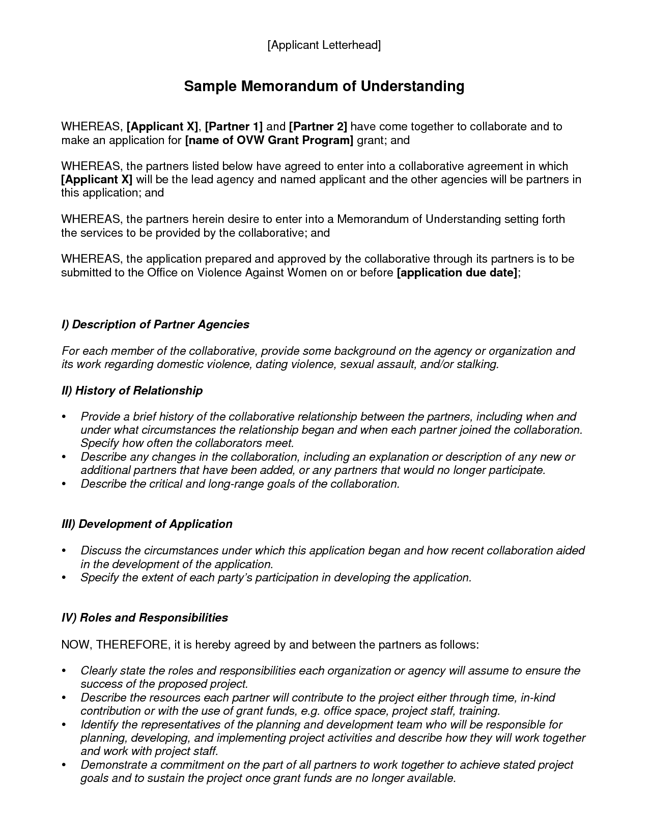 Memorandum Of Understanding Template | Best Template Collection throughout Memorandum Of Understanding Format 22975