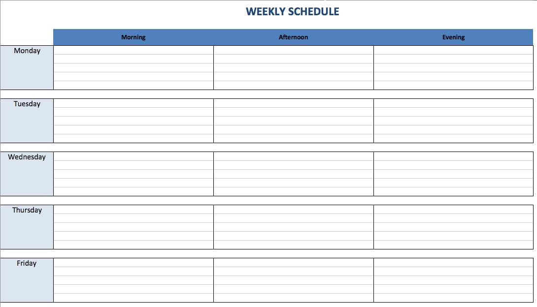 Monday To Friday To Do List Template  Examples And Forms