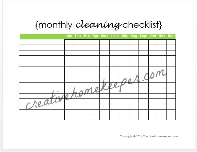 Monthly Cleaning Checklist {Free Printable} - Creative Home Keeper with Blank Cleaning Checklist Template 19141