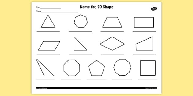 Name The 2D Shape Year 4 Worksheet - Worksheet, 2D, Shape, Year inside 2D Shapes Names 19352