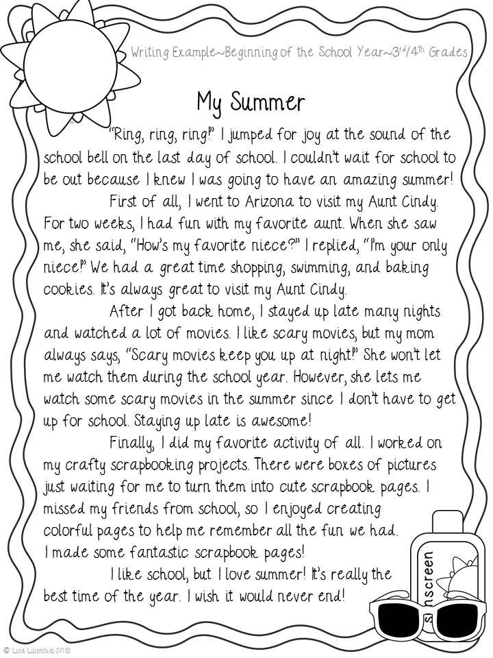 Narrative Writing ~ My Summer | Narrative Writing, School And Summer inside Personal Narrative Examples 3Rd Grade 21331