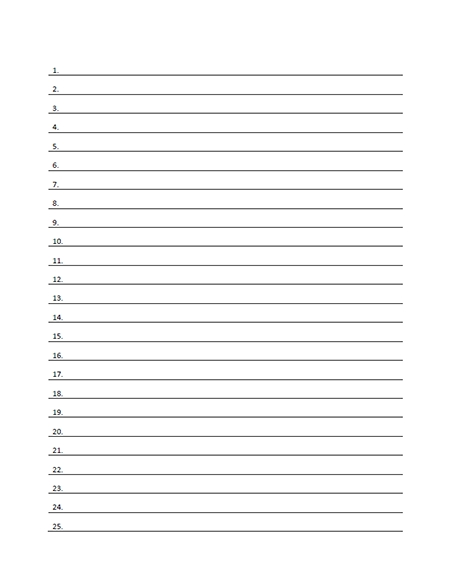 Numbered Lined Paper Template - Printable Pdf Form for Numbered List Template 20358