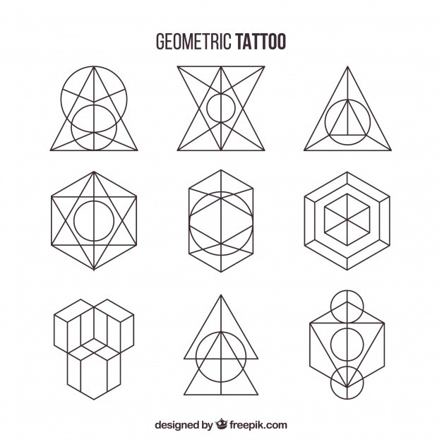 Pack Of Geometric Shapes Tattoos Vector | Free Download pertaining to Geometric Shapes Design Tattoo 24513