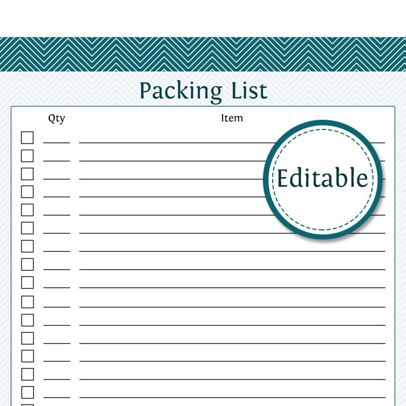 Packing List Fillable Printable Pdf Instant Download regarding Blank Packing Checklist 19251