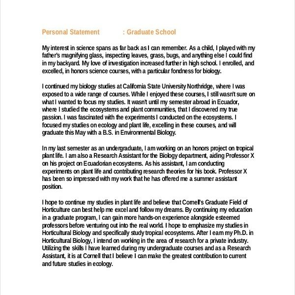 Personal Statement Graduate School  Template Business With College