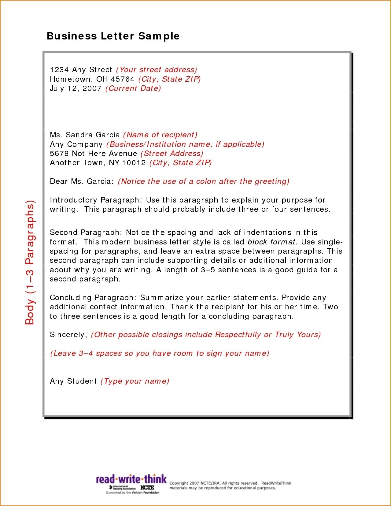 Persuasive Letter Format For Middle School Copy Cute Business for Friendly Letter Format For Middle School 21921