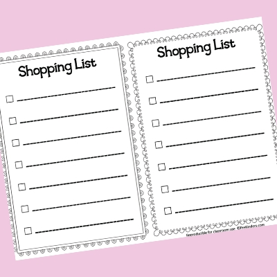 Pretend Play Writing Printables - Prekinders pertaining to Shopping List Template For Kids 22074