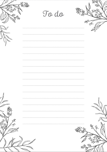 Pretty And Simple Black & White To-Do List | Free Printable for Cute Printable To Do Lists Black And White 22734