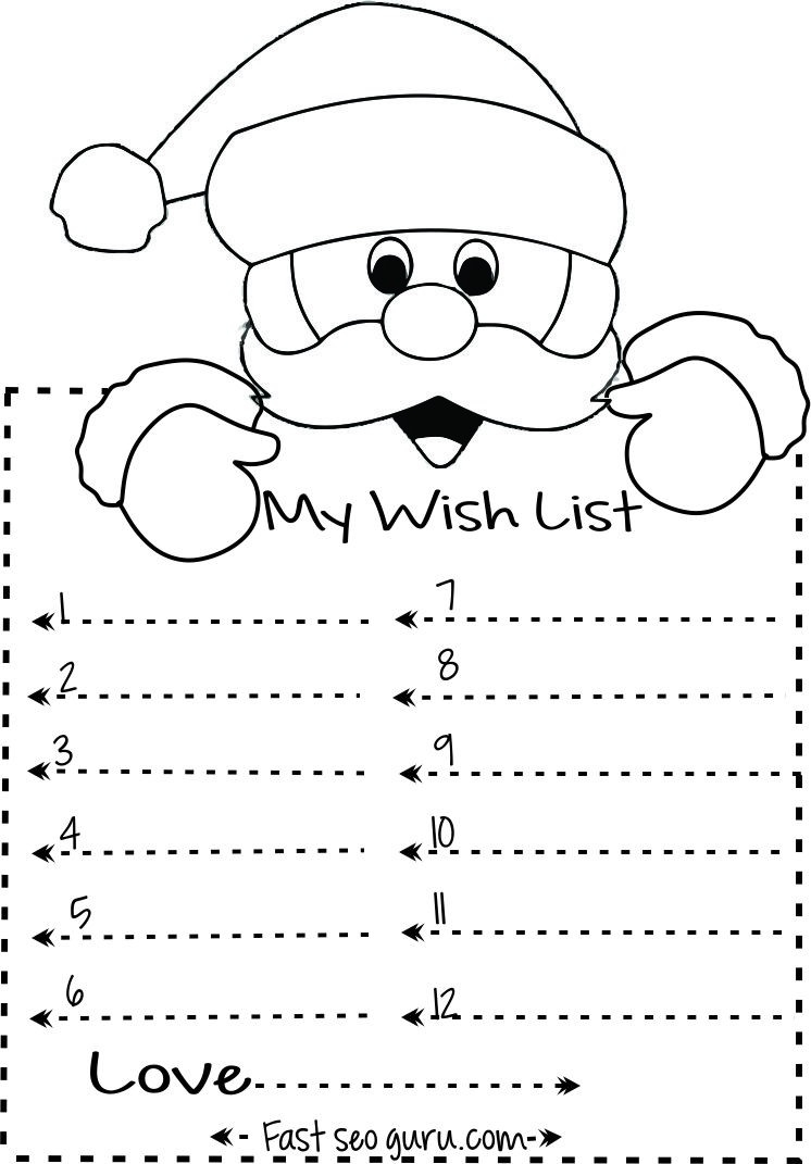 Print Out Christmas Wish List To Santa Write Template | Kids for Printable Christmas List Black And White 24303