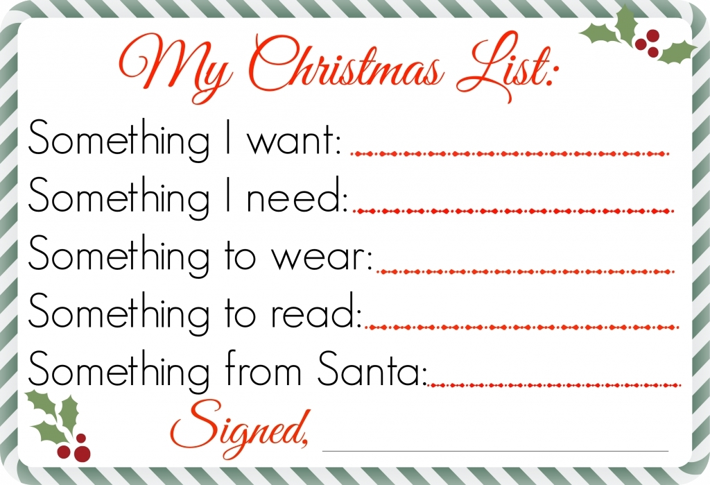 Printable Christmas List Want Need Wear Read | World Of Example throughout Printable Christmas List Want Need Wear Read 24333