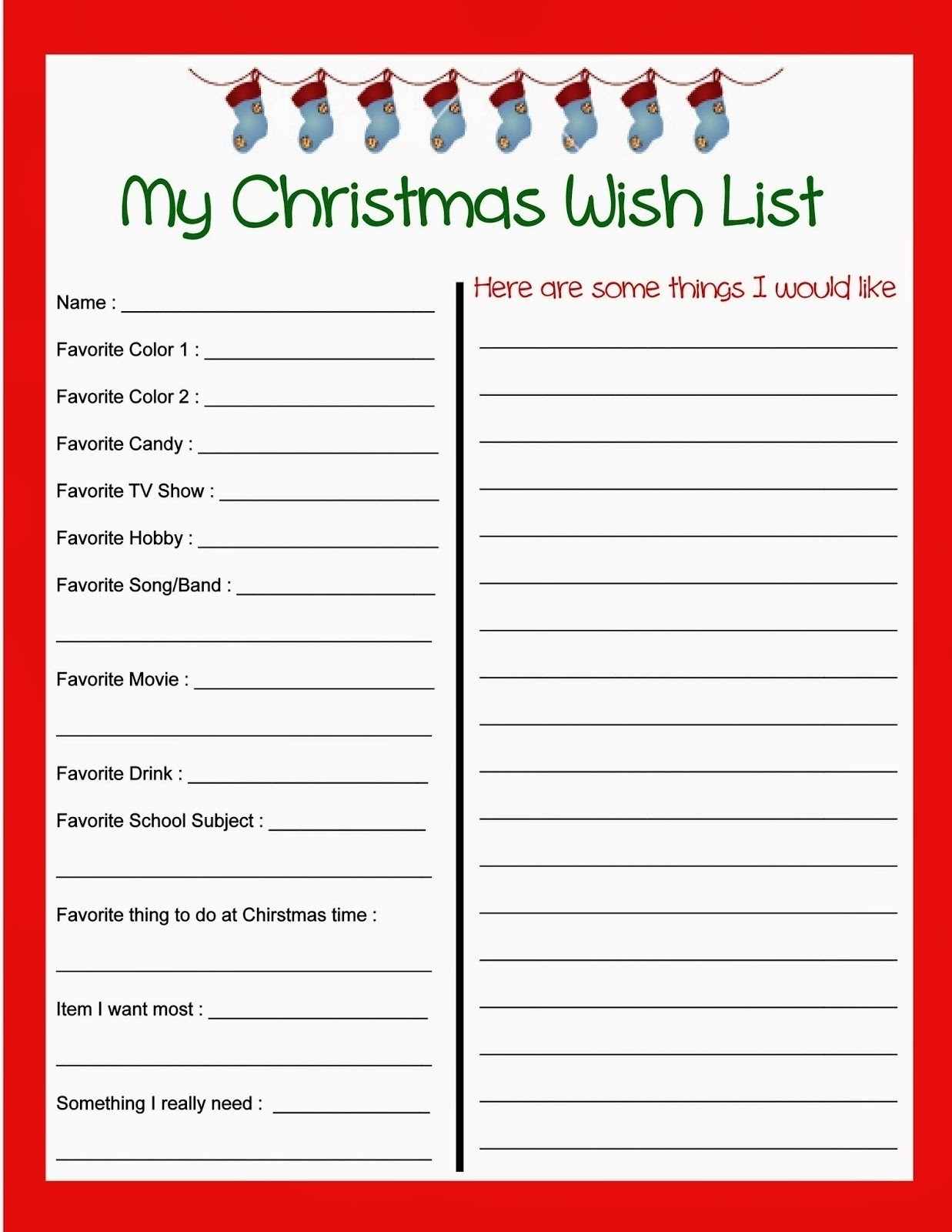 Printable Christmas Wish List Template | World Of Example pertaining to Blank Christmas List Printable 19131