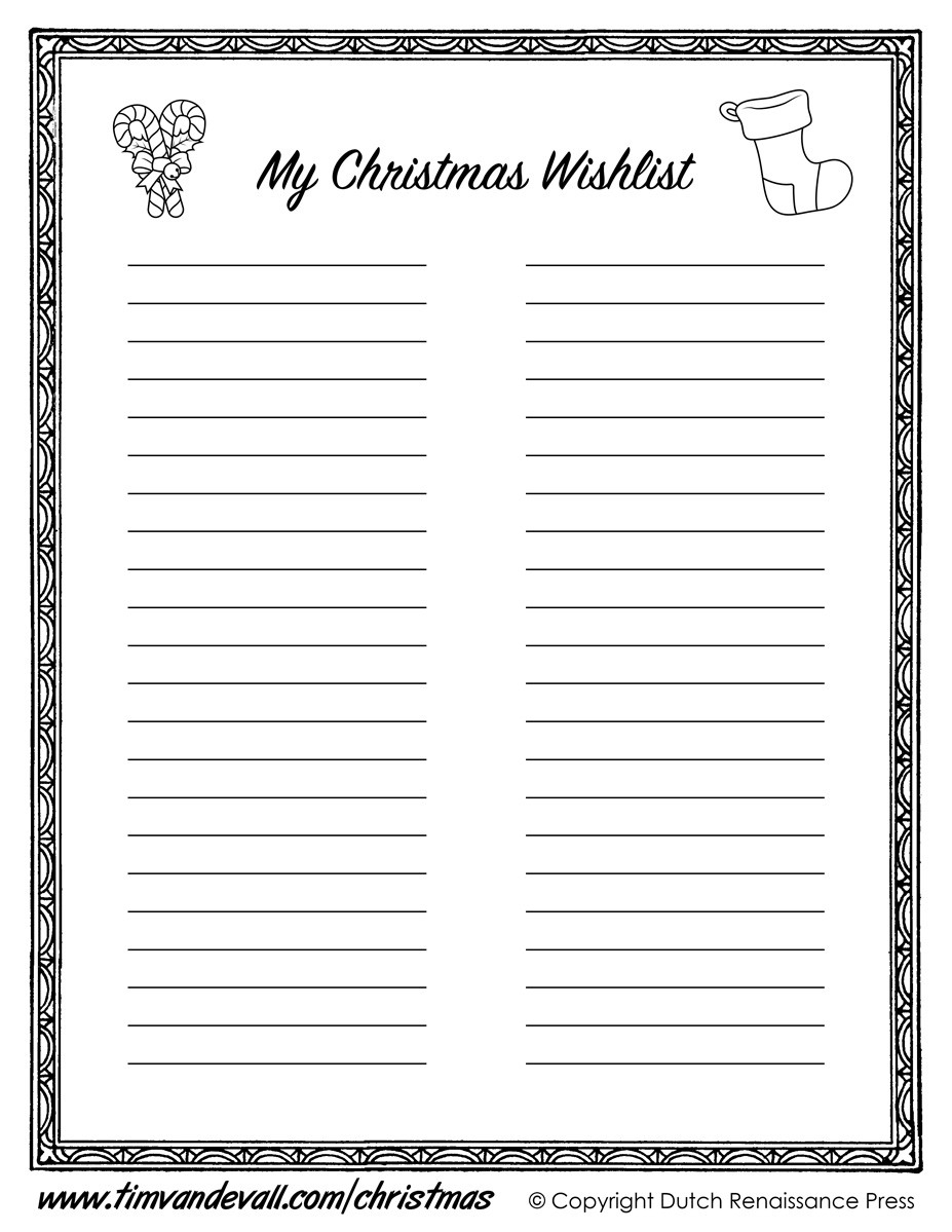 Printable Christmas Wishlist Template For Kids for Printable Christmas List Black And White 24303