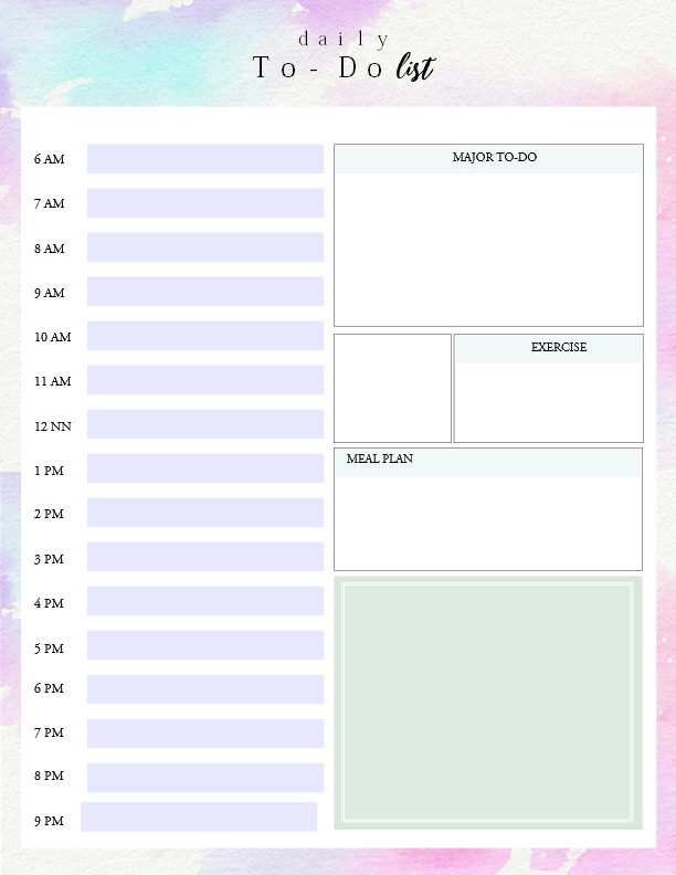 Printable Daily To Do List Template To Get Things Done! for Daily To Do List Template With Time 22715