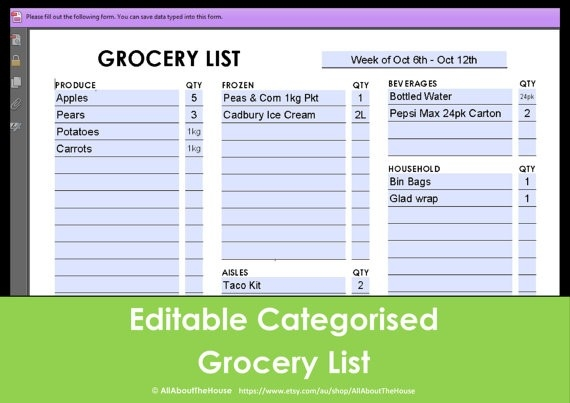 Printable Grocery List Editable Categorised Shopping intended for Editable Shopping List Template 22104