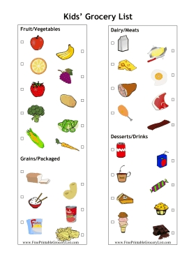 Printable Kid Grocery List throughout Shopping List Printable For Kids 21691