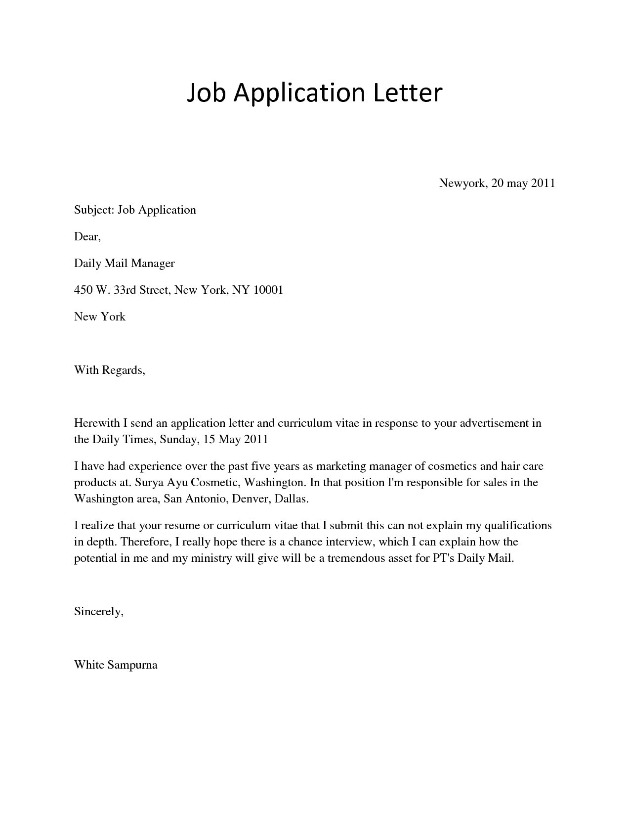 Printable Letter Format Paper Best Of Application Letter For Job with regard to Job Application Letter Format 23486