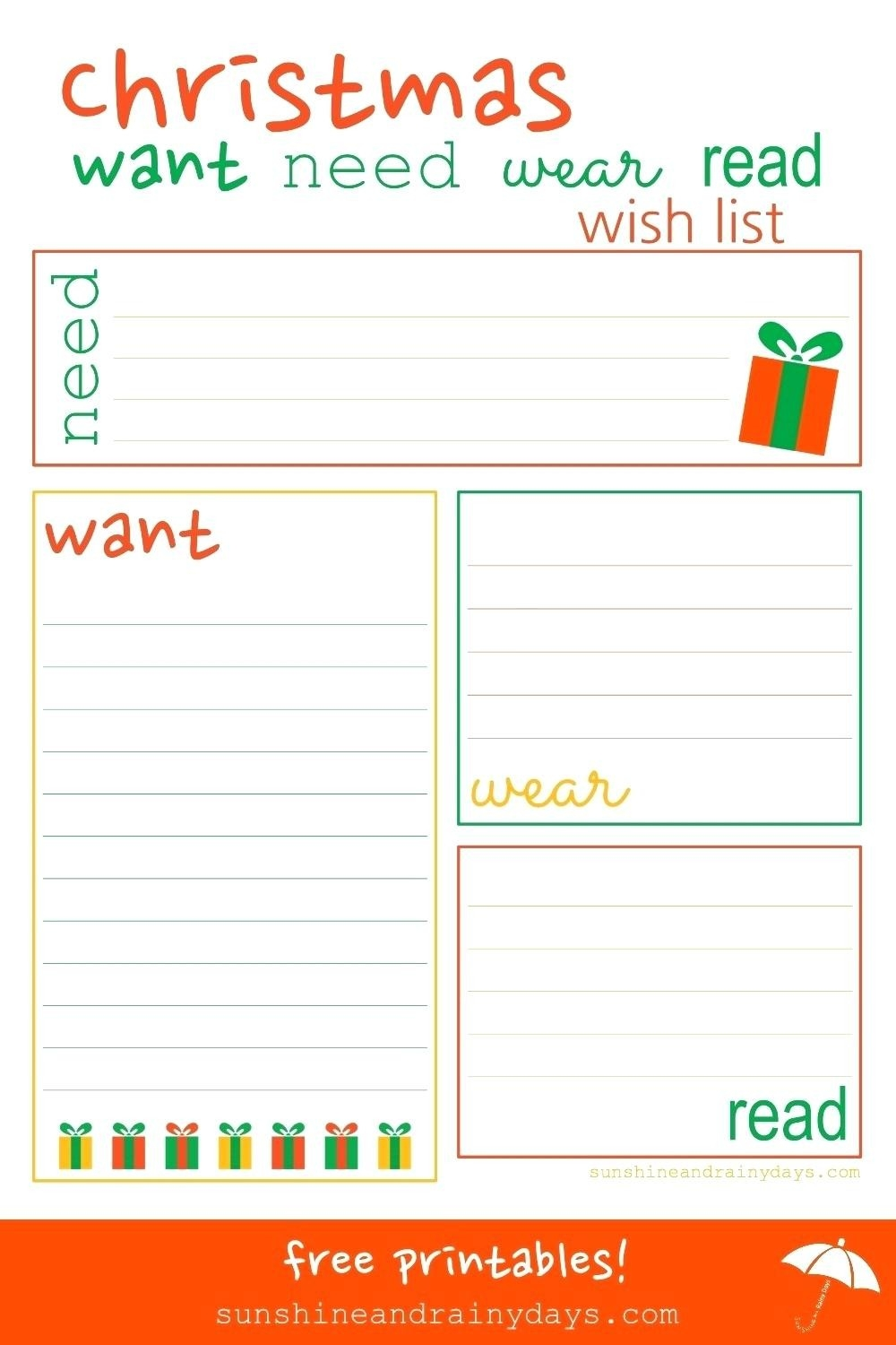 Printable: Printable Christmas Wish List Form throughout Printable Christmas List Want Need Wear Read 24333