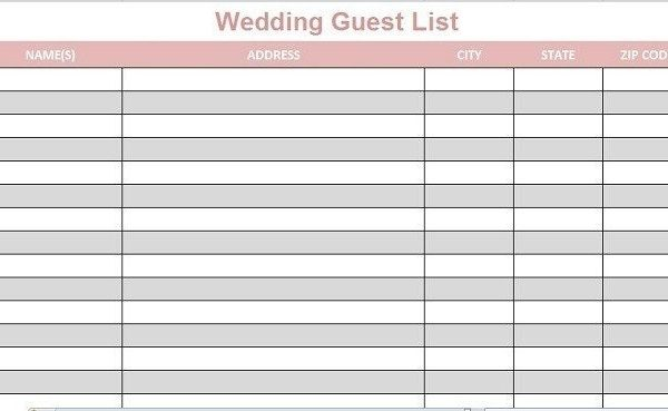 Printable Wedding Guest List Template | World Of Example inside ...
