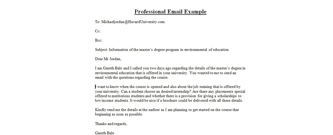 Professional Email Example - Asafon.ggec.co pertaining to Email Format Example 23316