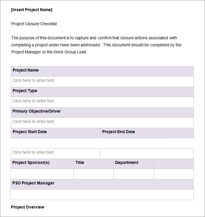 Project Checklist Template Word | Examples and Forms