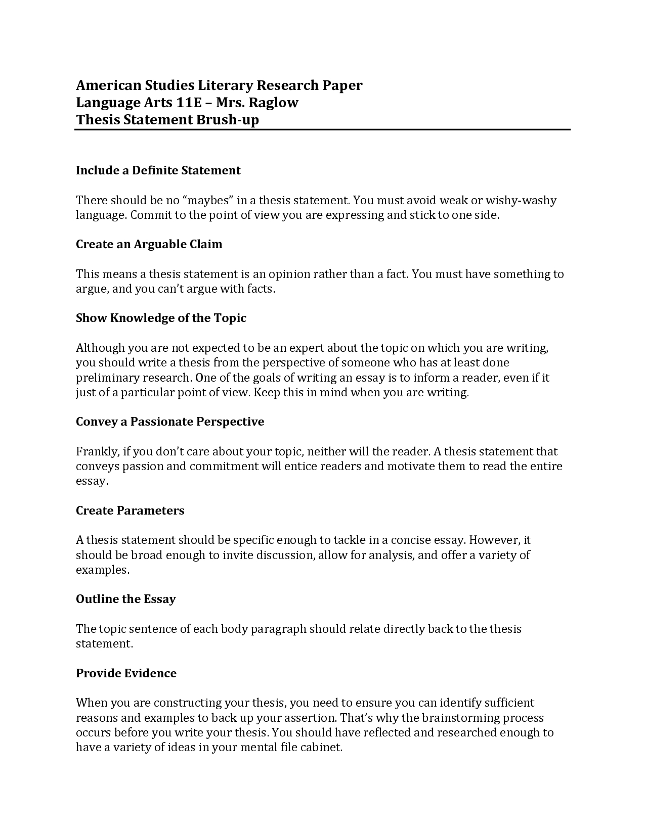Thesis Statements Examples For Research Paper