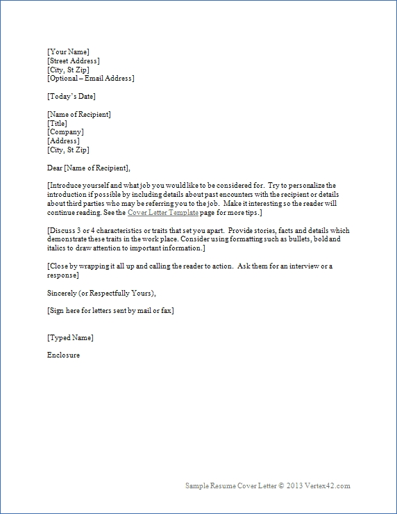 Resume Cover Letter Template For Word | Sample Cover Letters in Letter Format Word 22584