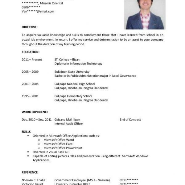 Resume Sample For Fresh Graduate Pdf  Stibera Resumes Within Resume