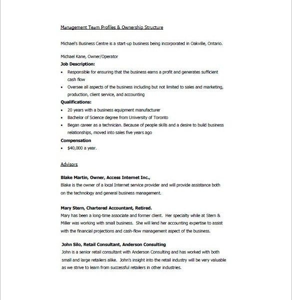 management and ownership business plan sample