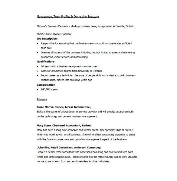 Retail Business Plan Template – 7+ Free Sample, Example Format for Management Team Example 21371
