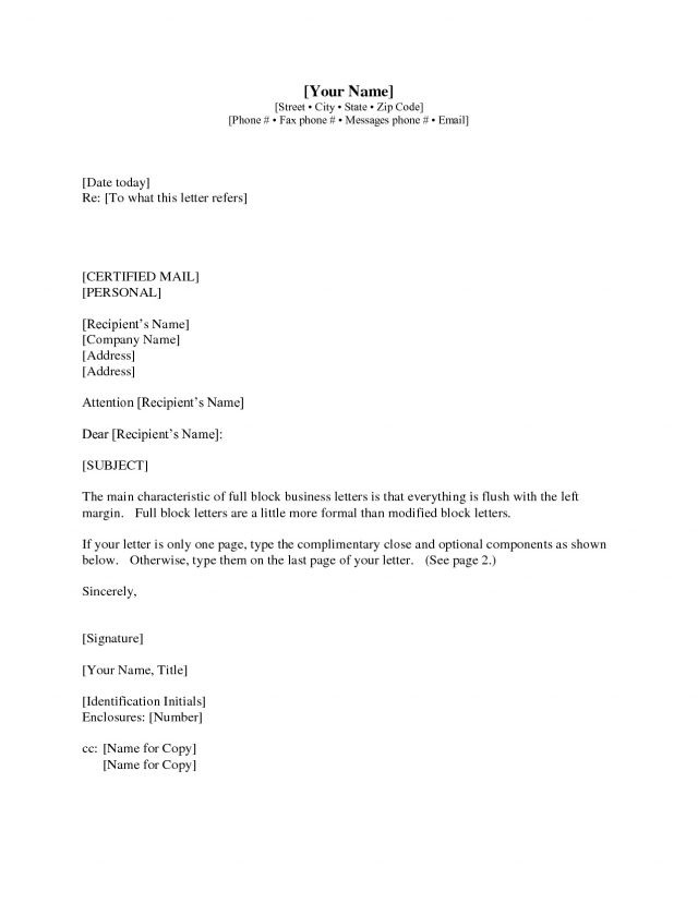 Business Letter Format Example With Enclosure  Examples And Forms