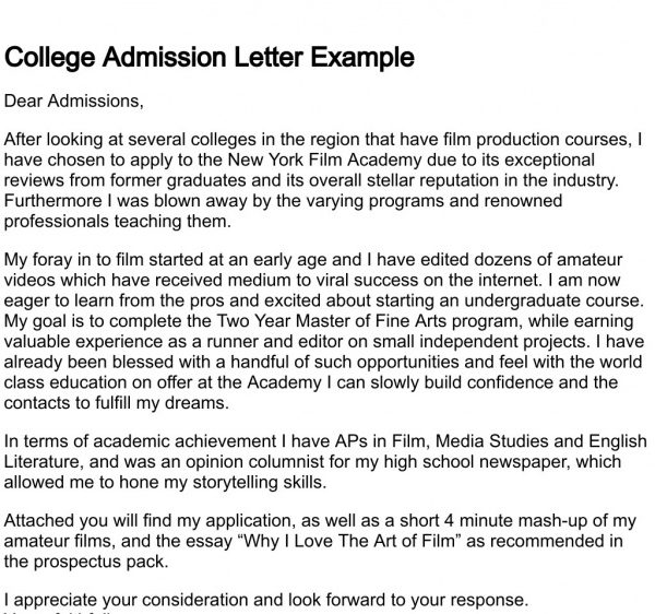 Sample College Application Letters  AsafonGgecCo Inside College