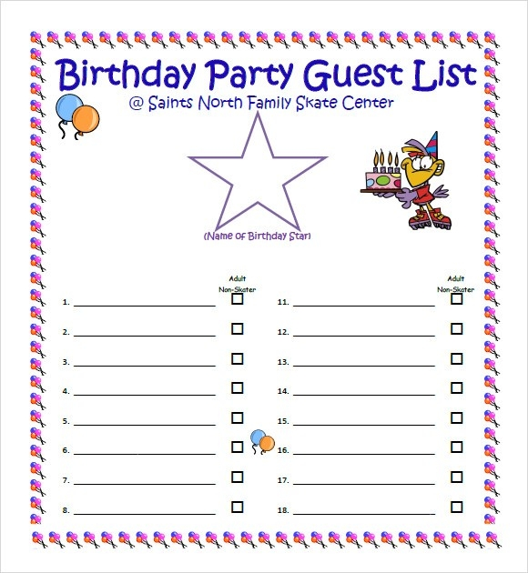 Sample Guest List - 8+ Documents In Pdf, Word, Excel in Party Guest List Template 24192