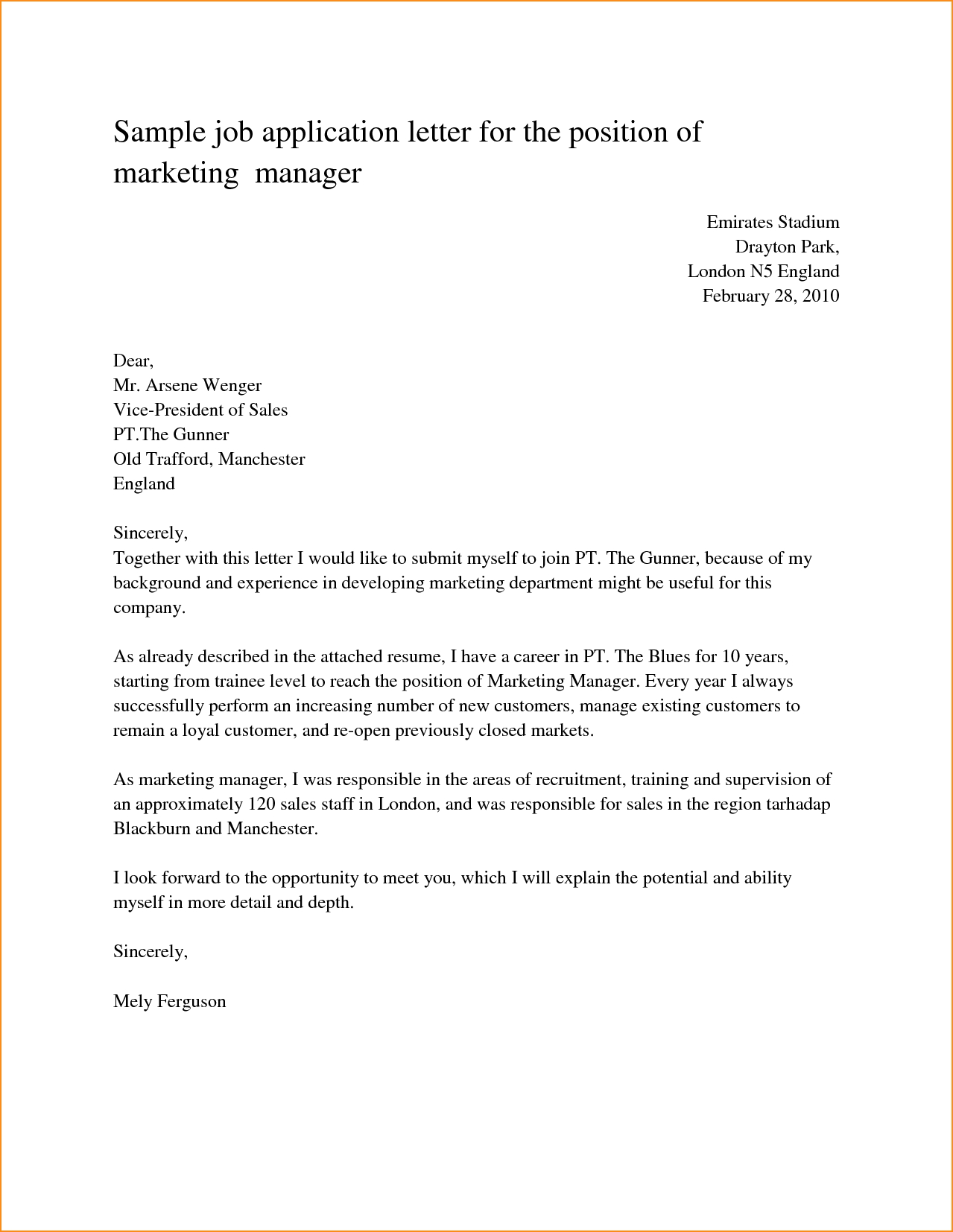 Sample Job Application Letter For The Position Marketing Manager within Job Application Letter Format 23486