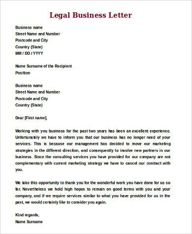 Sample Legal Letter Format - 9+ Examples In Word, Pdf with Formal Legal Letter Format 23356