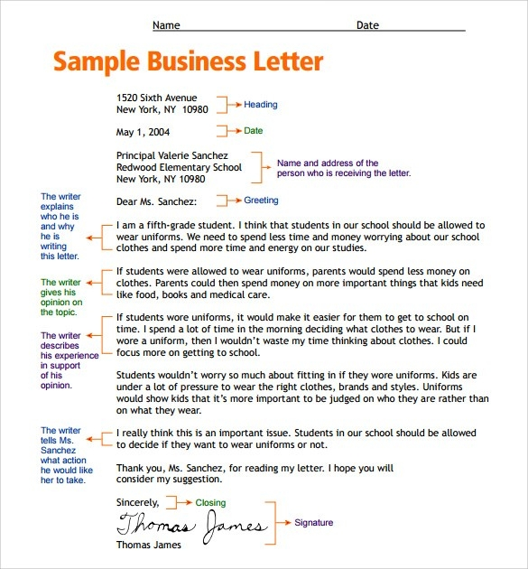 Sample Letter Format For Kids Free Samples Examples Business with regard to Formal Letter Format For Kids 20921