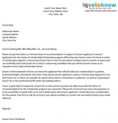 Sample Of Recommendation Letter For Students - North.fourthwall.co pertaining to Scholarship Format Sample 21041