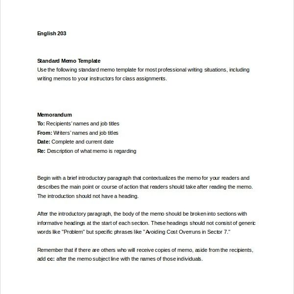 memo format for word