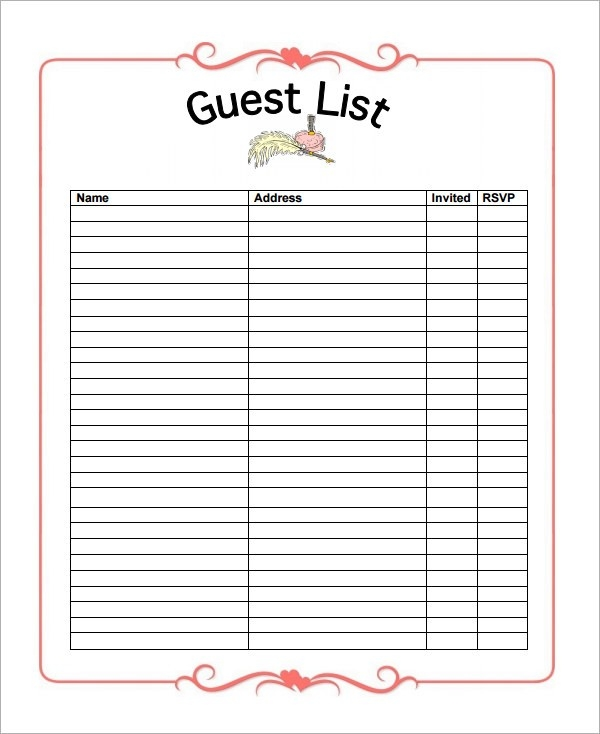 Sample Wedding Guest List Template -15+ Free Documents In Word pertaining to Printable Wedding Guest List Template 24222